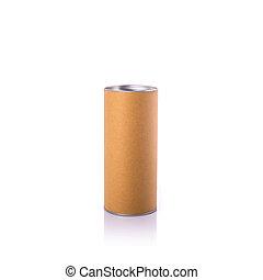 scatola, marrone, colpo, isolato, rotondo, cap., carta,...