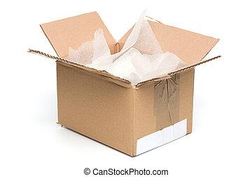 scatola, materiale, imballaggio, limare, cartone, aperto