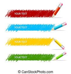 scatola, matite, vettore, colorito, testo