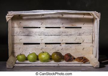 scatola, mela, legno, marcio, fondo, fresco