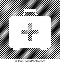 scatola, moire, segno., medico, vector., aiuto, icon., buco, backgrou, primo