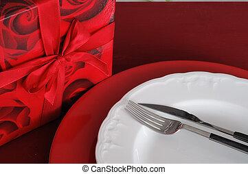scatola, montaggio cena, romantico, regalo