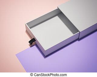 scatola, multicolour, aperto, rendering., fondo, bianco, cartone, 3d