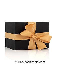 scatola, nero, oro, arco regalo