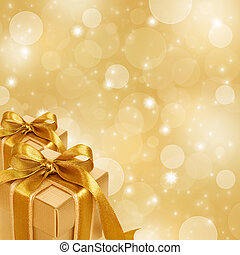 scatola, oro, regalo, astratto, fondo, natale