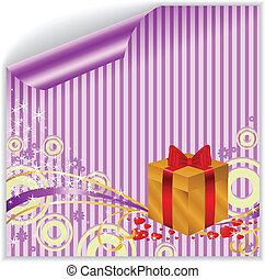 scatola oro, su, viola, adesivo