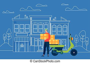 scatola, pacchetto, corriere, carattere, portare, indirizzo, uomo