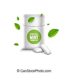scatola, pacchetto, dentale, breath., verde, gengiva, vettore, salute, fondo, fresco, masticazione, menta
