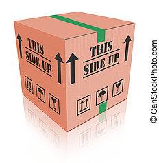 scatola, pacchetto, questo, carboard, su, lato