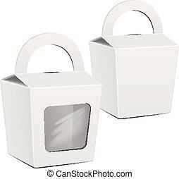 scatola, package., mockup, set., cibo, digiuno, gift., imballaggio, torta, vettore, sagoma, portare, bianco, cartone