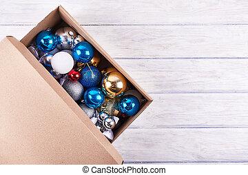 scatola, palla, natale