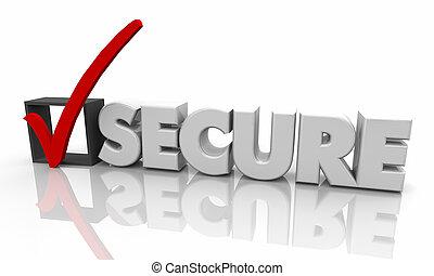 scatola, parola, assicurare, illustrazione, marchio, protetto, assegno, 3d