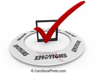 scatola, parola, illustrazione, sentimenti, emozioni, assegno, 3d