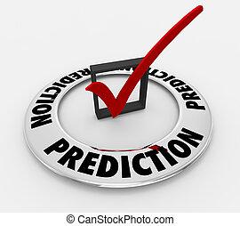 scatola, parola, predizione, illustrazione, previsione, marchio, assegno, 3d