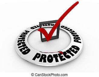 scatola, parola, sicuro, illustrazione, marchio, protezione, sicurezza, protetto, assegno, 3d
