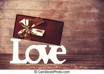scatola, parola, tavola., amore, regalo