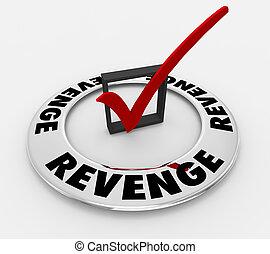 scatola, parola, vendetta, illustrazione, marchio, payback, assegno, 3d