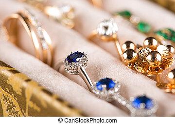 scatola, pendants., jewelery., anelli
