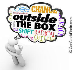 scatola, pensare, creatività, persona, esterno, innovazione