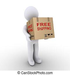 scatola, persona, cartone, spedizione marittima, libero