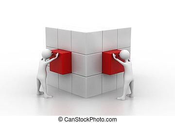 scatola, persone, arrangiare