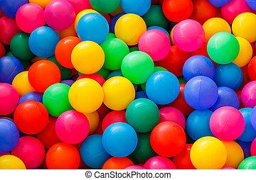 scatola, piccolo, palle, colorato, pieno
