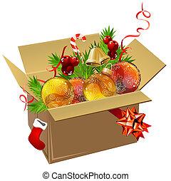 scatola, pieno, tappezzi palle, natale