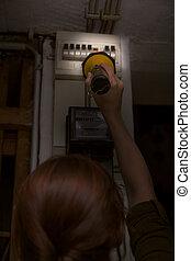 scatola, pila, controllo, interruttore, blackout, taglio, ...