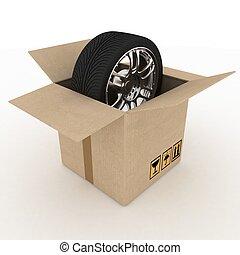 scatola, pneumatici, fondo, bianco, cartone, aperto
