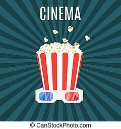 scatola, popcorn, occhiali, 3d, cinema