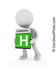 scatola, portare, uomo, idrogeno, 3d