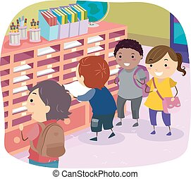 scatola, posta, bambini, stickman, classe