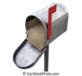 scatola, posta, retro, lettera, pila