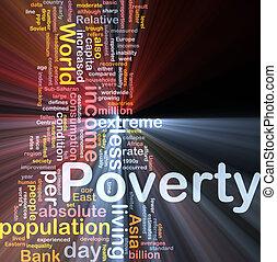 scatola, povertà, parola, nuvola, pacchetto