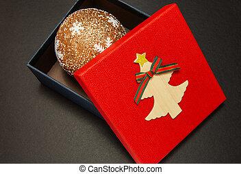 scatola, primo piano, regalo, palla, natale, rosso