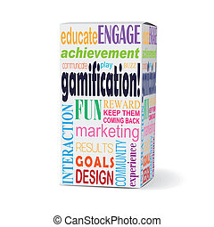 scatola, prodotto, gamification, parola