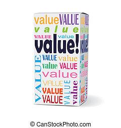scatola, prodotto, parola, valore