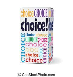 scatola, prodotto, scelta parola