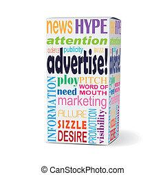 scatola, pubblicizzare, parola, prodotto