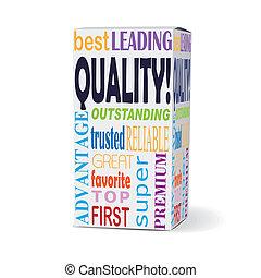 scatola, qualità, prodotto, parola