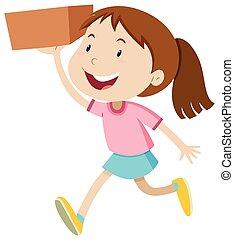 scatola, ragazza, correndo