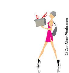 scatola, ragazza fascino, shopping