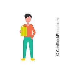 scatola, ragazzo, faceless, regalo, vettore, presa a terra, presente, icona