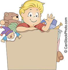 scatola, ragazzo, giocattolo, capretto