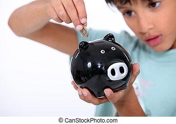 scatola, ragazzo, moneta, mettere, soldi