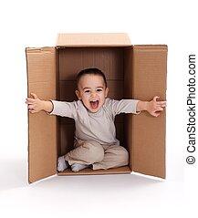 scatola, ragazzo, poco, cartone, felice