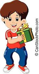 scatola, ragazzo, poco, presa a terra, regalo