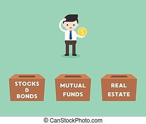 scatola, reale, comune, concetto, affari, proprietà, vincoli...