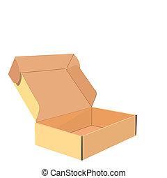 scatola, realistico, illustrazione