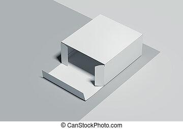 scatola, realistico, rendering., isolato, fondo., bianco, cartone, 3d